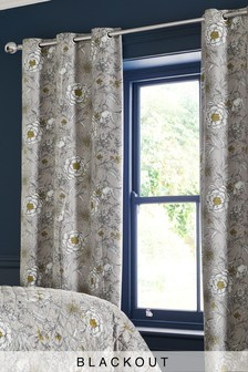 Heritage Floral Blackout Eyelet Curtains