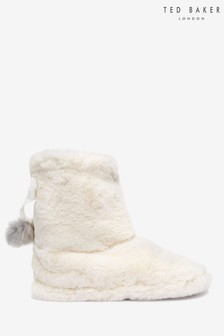 Ted Baker Cream Faux Fur Slipper Boots