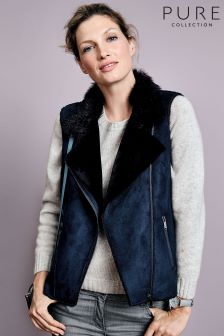 Pure Collection Black Faux Shearling Gilet