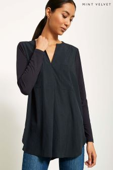 Mint Velvet Blue Pocket Front Tunic