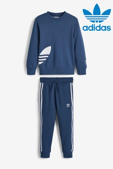 adidas Originals Little Kids Navy Trefoil Crew Sweater And Jogger Set