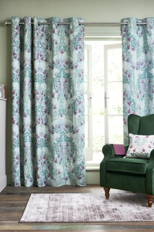 Hadley Mirror Floral Eyelet Curtains