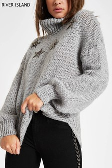 River Island Grey Star Detail Roll Neck Jumper