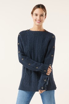 Cable Button Shoulder Jumper