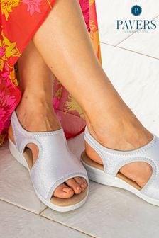 Pavers Silver Ladies Stretch Sandals
