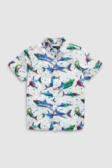 Рубашка с коротким рукавом и акулами (3-16 лет)
