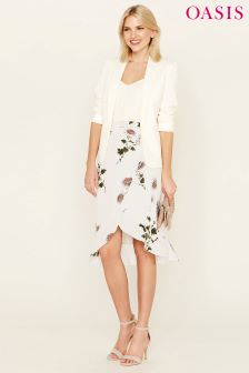 Oasis Natural Nhm Floral Wrap Skirt
