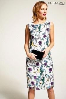 HotSquash Cream Sleeveless Embroidered Shift Dress