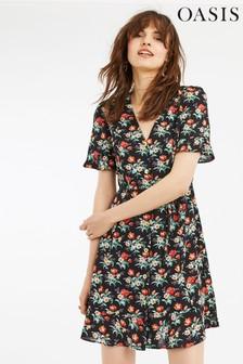 174b2574a8f4 Oasis Black Petunia Button Skater Dress