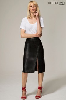HotSquash Black Leather Look Wrap Skirt