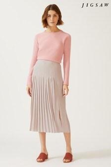 Jigsaw Pink Pleat Midi Skirt