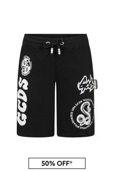 GCDS Mini Boys Black Cotton Shorts