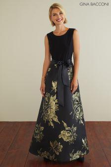 Gina Bacconi Black Mili Jersey And Jacquard Dress