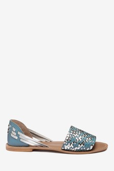 f28fce0f47e0 Woven Leather Peep Two Part Shoes
