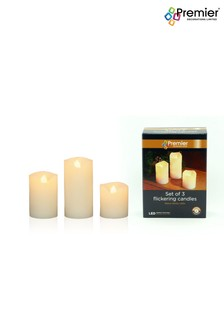 Set of 3 Premier Decorations Ltd Cream LED Candles