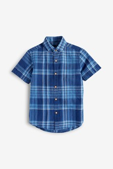 Short Sleeve Check Linen Mix Shirt (3-16yrs)