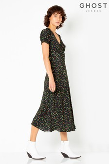 Ghost London Black Printed Poet Bias Cut Crepe Midi Dress