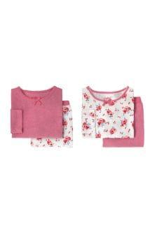Set de două pijamale cu panseluțe Cath Kidston® albe