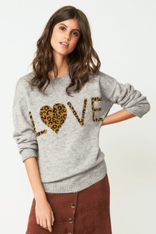 Love Leopard Slogan Sweater