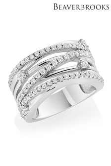 Beaverbrooks Silver Cubic Zirconia Crossover Ring
