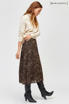 Warehouse Brown Leopard Print Pleat Midi Skirt