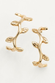 Leaf Detail Hoop Earrings