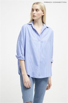 French Connection Blue Oversized Striped Shirt