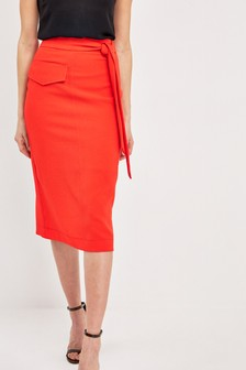 Utility Pocket Belted Pencil Skirt