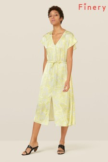 Finery London Yellow Rosa Tie Waist Dress