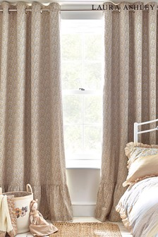 Laura Ashley Yellow Libby Ditsy Floral Ruffle Eyelet Blackout Curtains