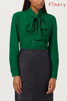 Finery London Green Opal True Green Tie Neck Blouse