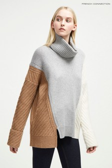 French Connection Grey Colourblock High Neck Jumper