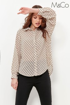M&Co Cream Geometric Crepe Blouse