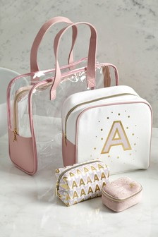 Set of 4 Alphabet Cosmetics Bags