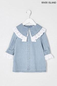 River Island Blue Denim Broderie Collar Dress