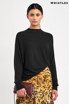 Whistles Black Dolman Silk Mix Knitted Jumper