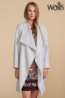 Wallis Petite Grey Waterfall Coat