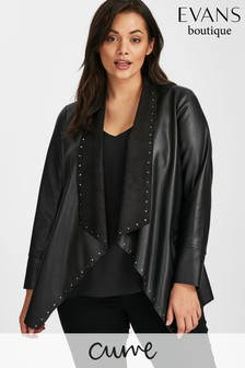 Evans Black Stud PU Waterfall Jacket