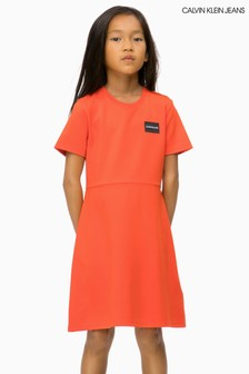 Calvin Klein Jeans Orange Skater Dress