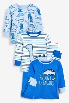 Komplet 3 pižam z motivom dinozavra (9 mesecev–8 let)
