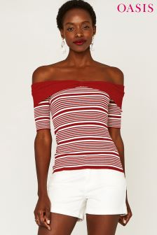 Oasis Red Stripe Bow Bardot Top