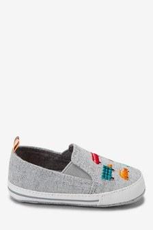 Pram Embroidered Transport Slip-On Shoes (0-24mths)