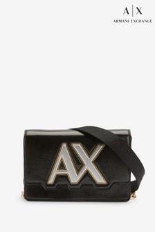 תיק עם רצועה אלכסונית ולוגו של Armani Exchange דגם Isabel בשחור