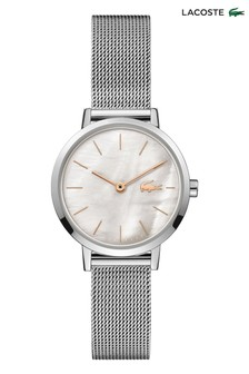 Lacoste Silver Tone Stainless Steel Mesh Moon Mini Watch