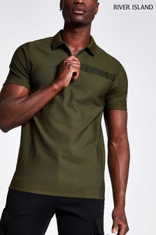 River Island Khaki New Texture Polo