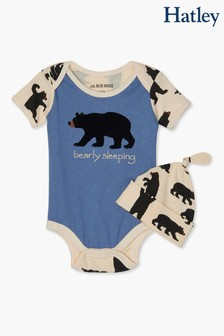 Hatley Blue/Black Bears Baby Bodysuit & Hat