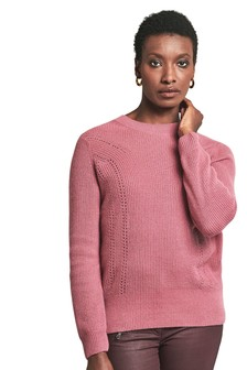 Pure Collection Pink Gassato Ribbed Pointelle Sweater