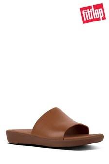 FitFlop™ Camel Steffy Dress Pool Slide Leather Sandal