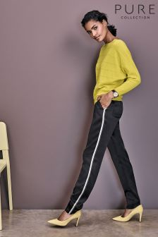 Pure Collection Black Relaxed Satin Trouser