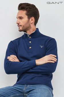 GANT Navy Sporty Cotton Mock Neck Jumper